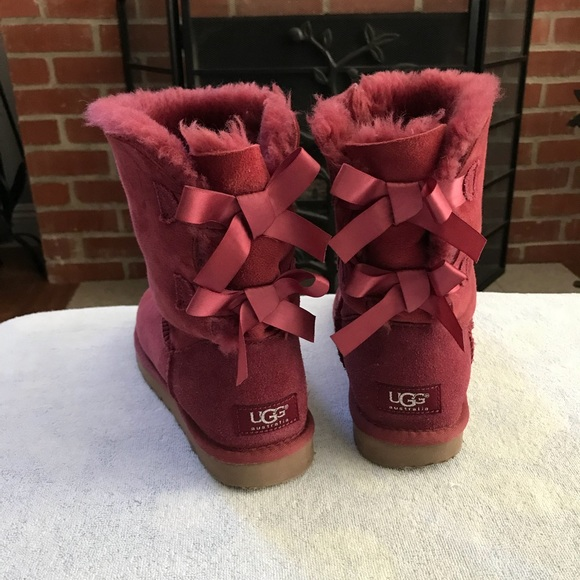 Burgundy Wine Ugg Boots with Bailey Bows